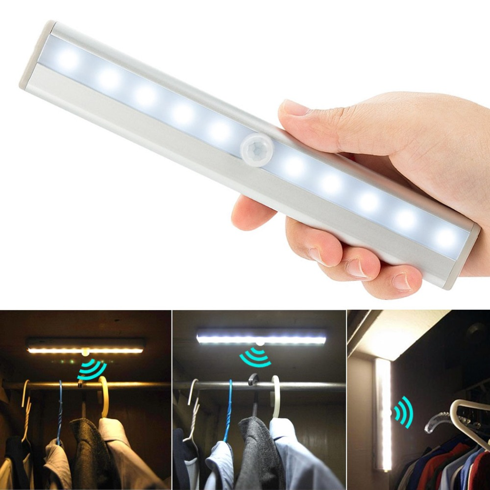 Led Night Lights Energetic Led Motion Sensor Night Light For Closet 10 Led Battery Powered Cabinet Night Lighting Wireless Motion Activated Lamp Use 4xaaa Factory Direct Selling Price