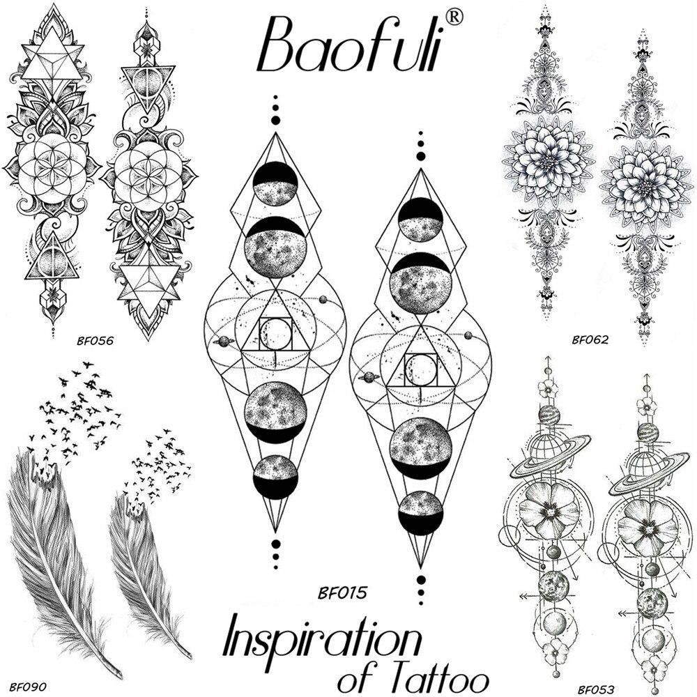 Tattoo & Body Art Supply Baofuli Black Geometric Temporary Tattoo Stickers Women Men Body Art Planet Chain Waterproof Fake Tattoo Paste Arm Tatoo Sleeve