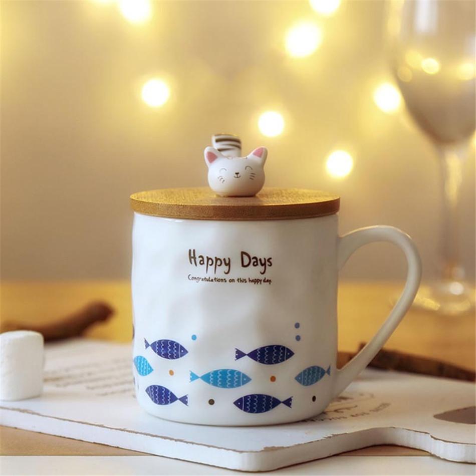Cartoon Cute 3D Cat Fish Mugs Cup Set Creative Milk Tea Drink Breakfast Ceramic Cups Plates Coffee Cup Wooden Lid + Spoon Gift (16)