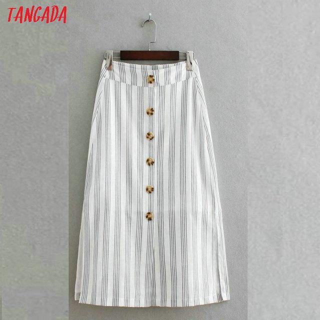 f57fbb476 Tangada 2019 mulheres listrado impressão de algodão de linho saia midi  botões moda side abrir saias