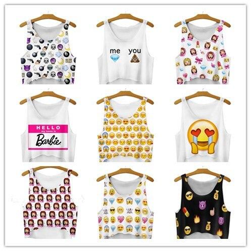 Harajuku womens sexy tank tops emoji crop top whatsapp smilies printed sleeveless vest cartoon funny kawaii women's tops