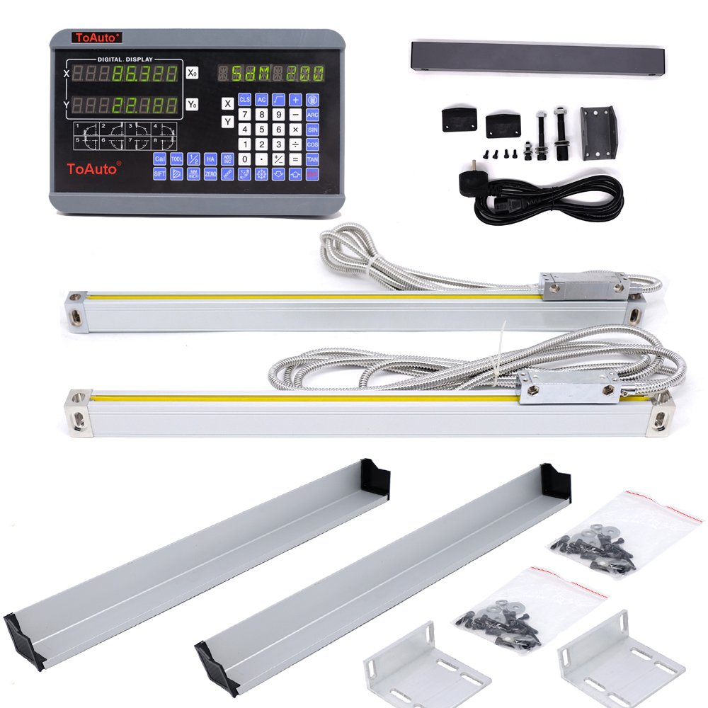 DRO 2 Axis digital readout +2pcs 50-1000mm linear scale linear encoder linear ruler for Drill/EDM/Milling/Grinding/Lathe Machine стоимость