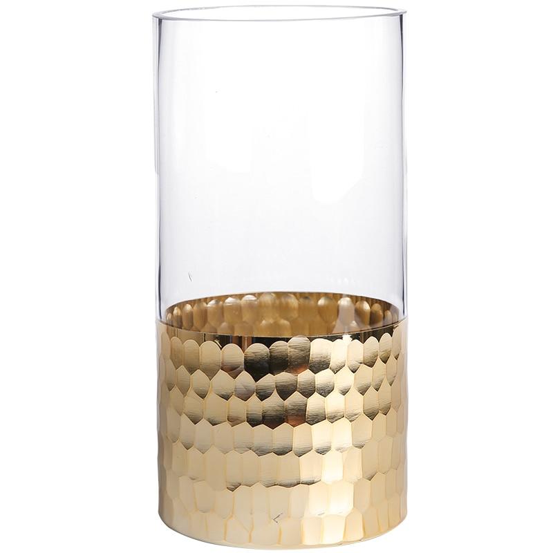 Gold Plating Cylinder Glass Vase Hand Blown Art Vase Table Standing