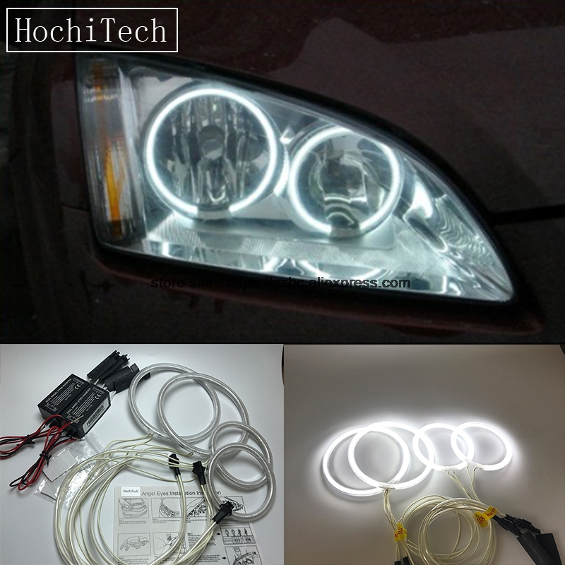 HochiTech For Ford Focus II Mk2 2004 - 2008 Ultra Bright Day Light DRL CCFL Angel Eyes Demon Eyes Kit Warm White Halo Ring цена