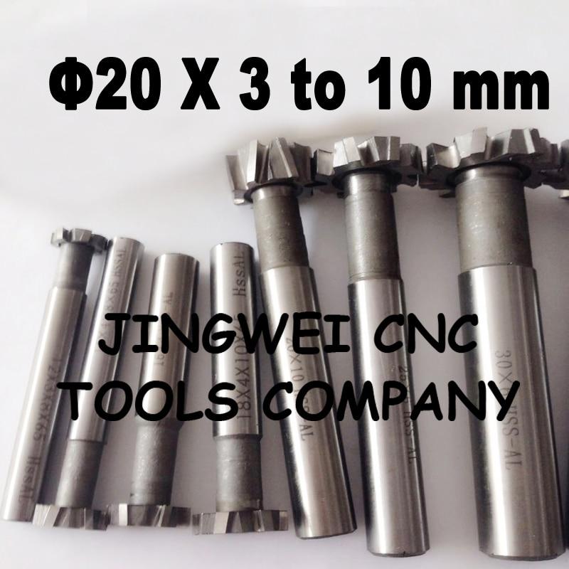 2PCS 20MM  hss T slot milling cutter, T ype cutter  T sot end mill 20mm *3mm, 4mm, 5mm, 6mm, 8mm, 10mm with straight flutes