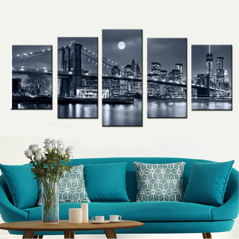 Hitam Putih Cetakan Manhattan Bridge Brooklyn Malam Landscape Canvas - Dekorasi rumah - Foto 1