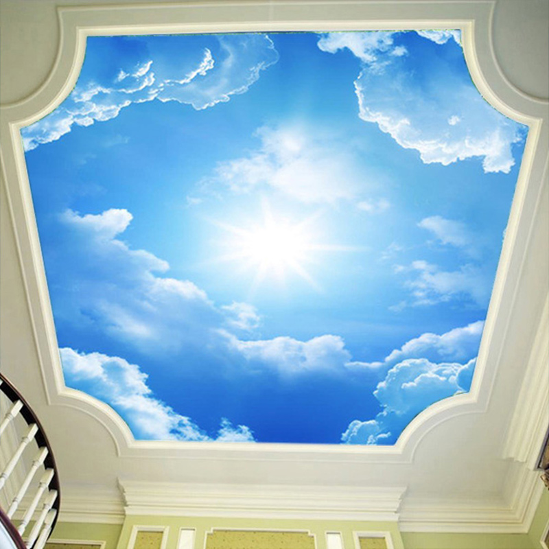 3d wall murals wallpaper landscape blue sky and white for Ceiling cloud mural