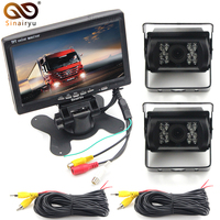 DC 12 24V Truck Bus Parking Monitor Camera System, 7 Car Monitor With Rear View Camera 10M 15M 20M RCA Video Cable