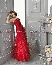 2016 Sexy Lady Schöne New Fashion Design Vintage Elegante Meerjungfrau Schatz Red Rüschen Bodenlangen Neueste Abendkleider