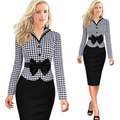 Womens Elegant Faux Jacket One-Piece Bow Patchwork Belted Long Sleeve Wear to Work Business Fitted Stretch Bodycon Dresses