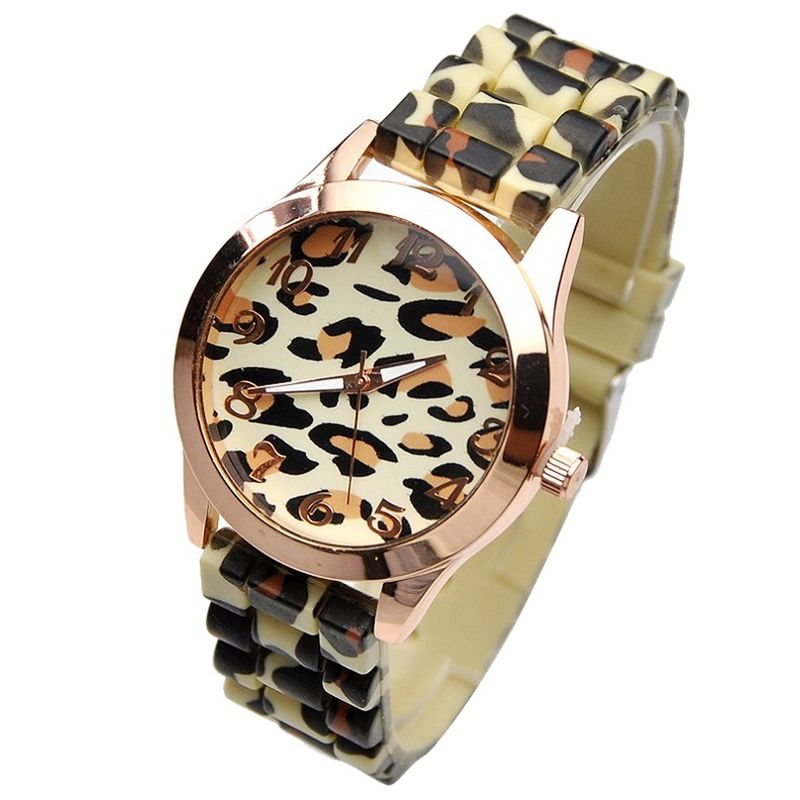 TOP Leopard Silicone Watch women Printed Band Wristwatch NEW Casual dress Fashion Dropship School Student