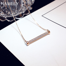 цена на Brand Luxury Cubic Zirconia Lamp Pendant Necklace Women 2019 New Rose Gold Color Retention CZ Crystal Necklaces Jewelry Gift