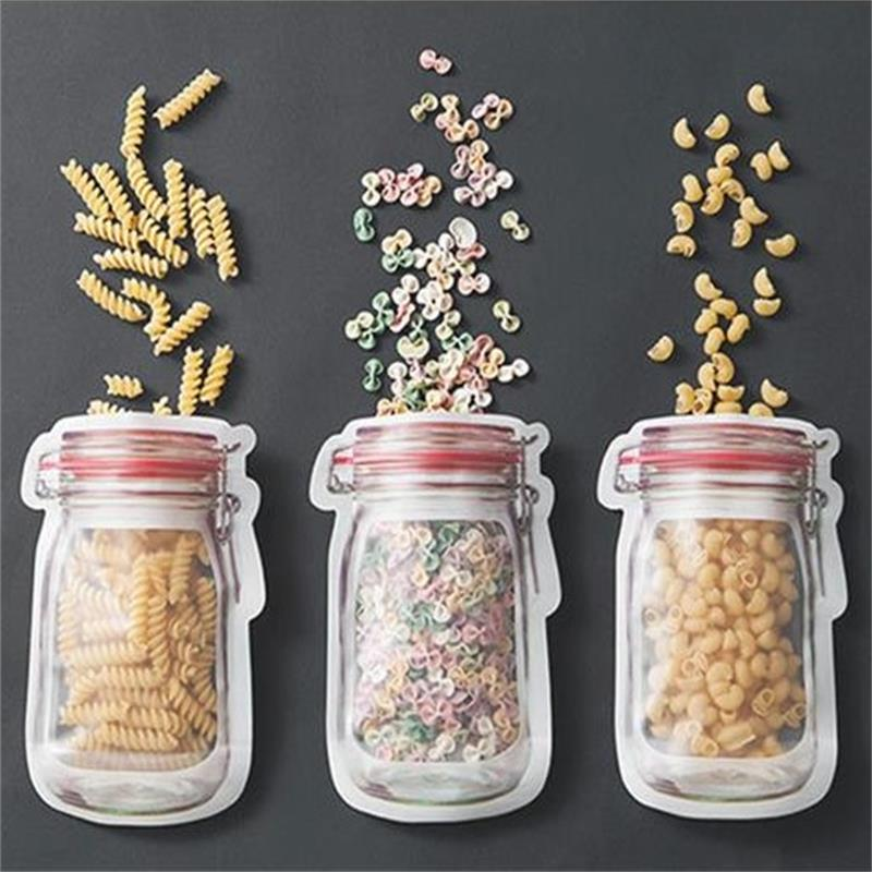 Image 2 - 3or4 Pcs/set Composite Material Food Preservation Storage Bag Biscuit Snack Food Supplement Food Zipper Seal Small Ware-in Storage Bags from Home & Garden