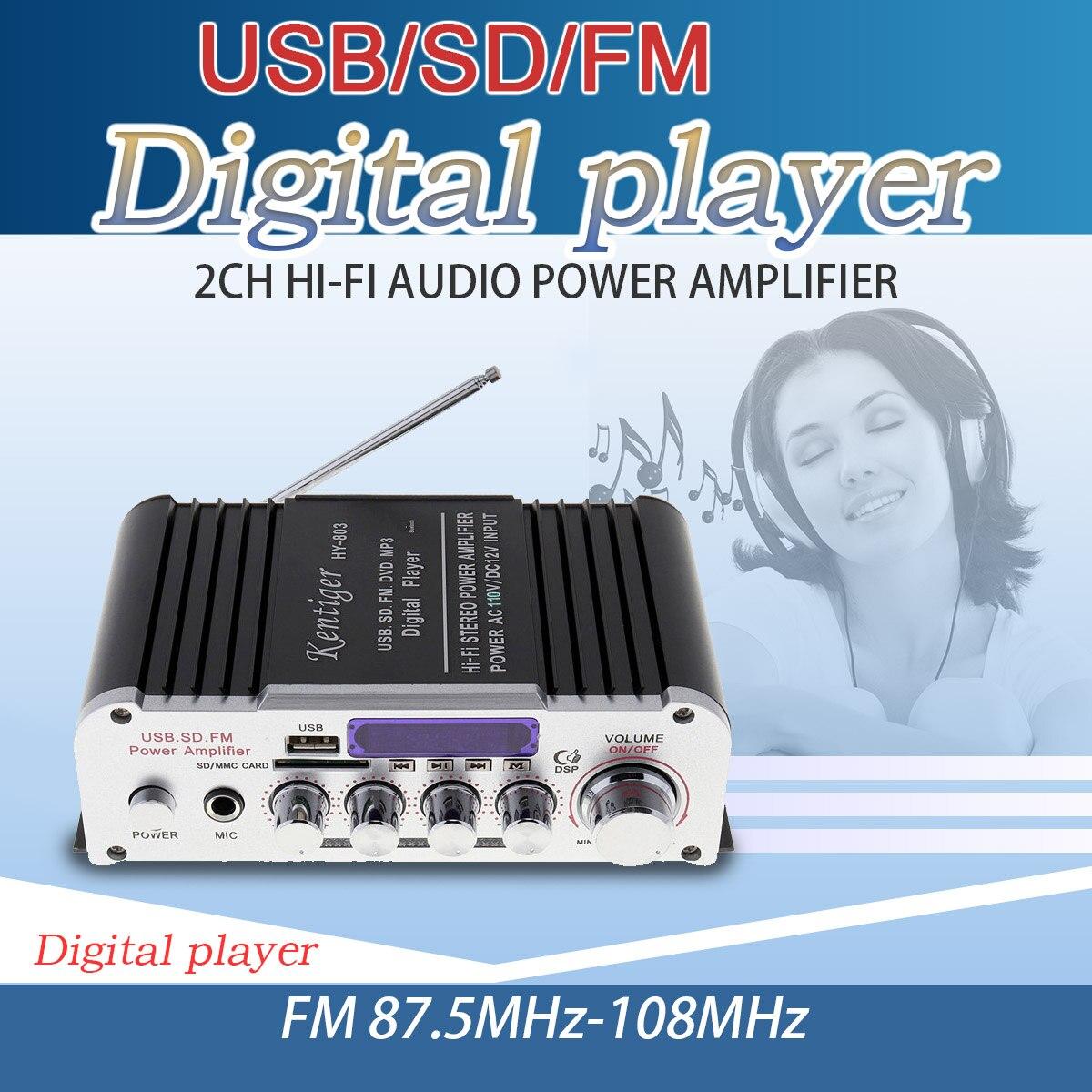 HY-803 2CH HI-FI Bluetooth Car Audio Power Amplifier FM Radio Player Support SD