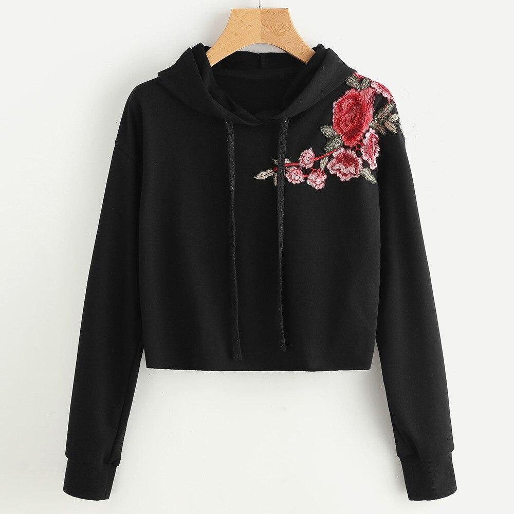 HTB1xWMMSFXXXXaPXFXXq6xXFXXX1 - Women Hoodie Crop Sweatshirt Jumper Crop Top Embroidery Pullover Black Cotton PTC 285