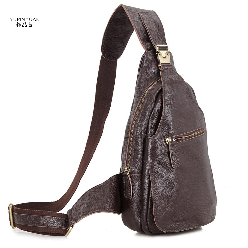 YUPINXUAN Top Quality Genuine Leather Chest Bags for Men Shoulder Strap Pack Real Leather Travel Bag Cowhide Chest Packs Russia 100% genuine leather small business men messenger bags cowhide travel shoulder bags for men cross body chest packs 2016