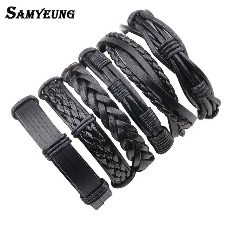 6Pcs Black Leather Bracelet for Best Friends Mens Bracelets 2017 Women Braslet Femme Pulseira Masculina Wholesale Dropshipping
