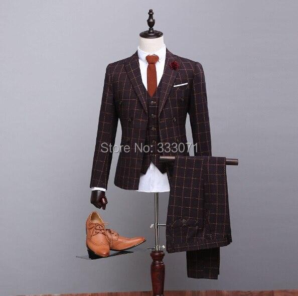 latested coat pants designs Wool Burgundy Ckeck Tweed Custom Man suit Groom Blazers Retro slim fit wedding suits for men 3Piece