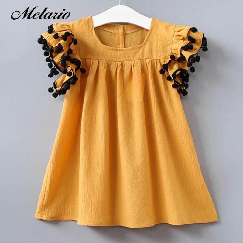 Melario Girls dress 2019 Autumn Children Dress Sets Fur Ball Long Sleeve Pure Color T-Shirt+Plaid Dress 2pcs Clothing Set