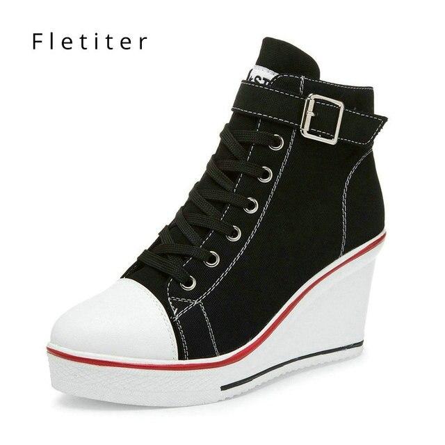30c3fee382 Fletiter 2018 Outono Sapatos Brancos Para As Mulheres Cunhas Sneakers  Altura aumento 10 cm Plataforma Sapatos