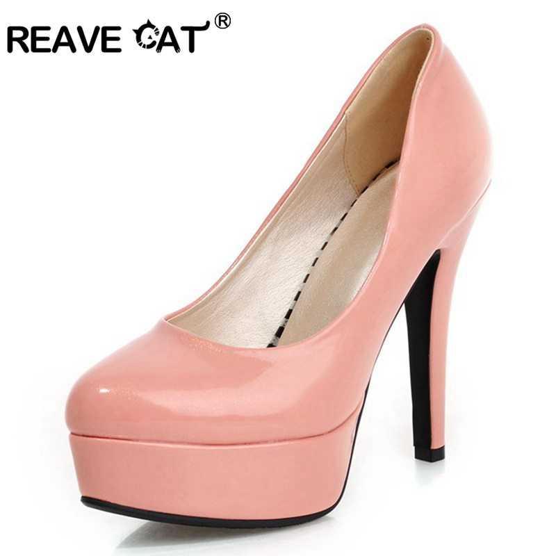 REAVE KEDI Kadın pompaları Bayanlar yüksek topuklu ayakkabılar Platformu Glitter Patent deri Ince topuk Moda Parti Ilkbahar yaz ayakkabı A297