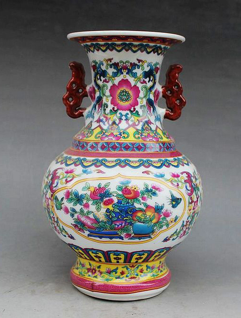 Exquisite Chinese Antique Handmade Enamel Colorful Porcelain Flowers