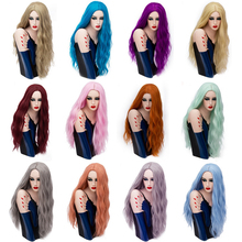 28inch Long Curly Blue Blonde Green Pink Wig Synthetic Natural Hair Anime Cosplay Halloween Costume Party Wigs For Women long curly blue synthetic lace front costume party wig