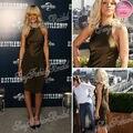 Rihanna Red Carpet Dress Sexy ronda cuello de la envoltura longitud de la rodilla satén celebridad de la tarde vestidos