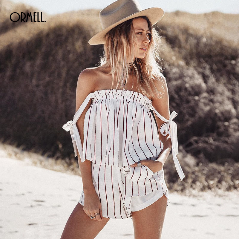 ORMELL Fashion White Stripe Women Playsuits 2017 Summer Sleeveless Off Shoulder Playsuits Women Sexy Backless Casual Romper