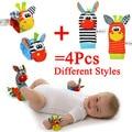 Alta qualidade 4 Pcs Brinquedo Chocalho Do Bebê Meias Animais Bonitos Dos Desenhos Animados Meias Bebê