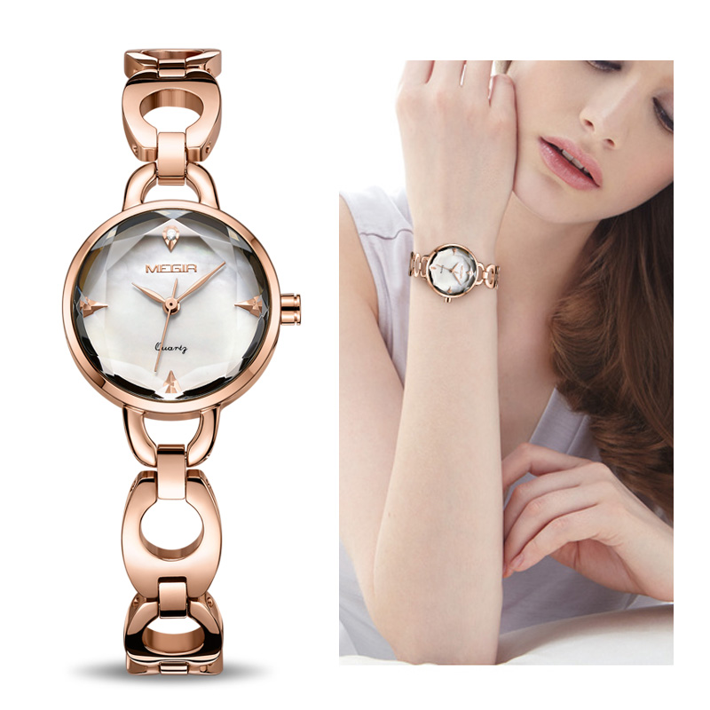 MEGIR Fashion Women Bracelet Watch Rose Gold Alloy Quartz Women Watches Clock Relogio Feminino Zegarek Damski Lover Ladies Watch relogio feminino fashion women girl bracelet watch quartz ladies alloy wrist watch horloge 17oct25