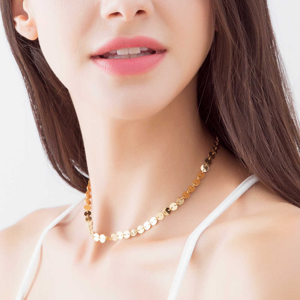 eManco Gold Color Statement Neckalce for Women Long Stainless Steel Class Chain Best Gifts for Friends Fashion Jewelry