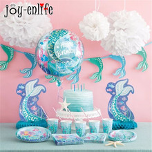 JOY-ENLIFE 1st Happy Birthday Party Set Mermaids Tableware Paper Cups Plate Latex Balloons Baby Shower Decorations