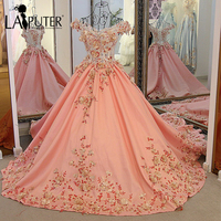 Romantic V Neck Short Sleeves Sequins Beaded Appliques Court Train Handmade 3D Flowers Ball Gown Satin