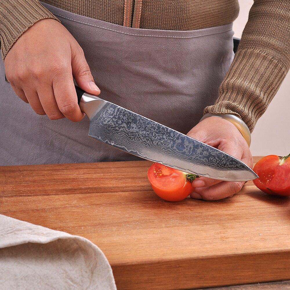 Sunnecko 8 pulgadas Damasco Chef cocina cuchillo japonés VG10 afilada de acero lijado hoja G10 con cuchilla de corte cuchillos de Chef-in Cuchillos de cocina from Hogar y Mascotas    2