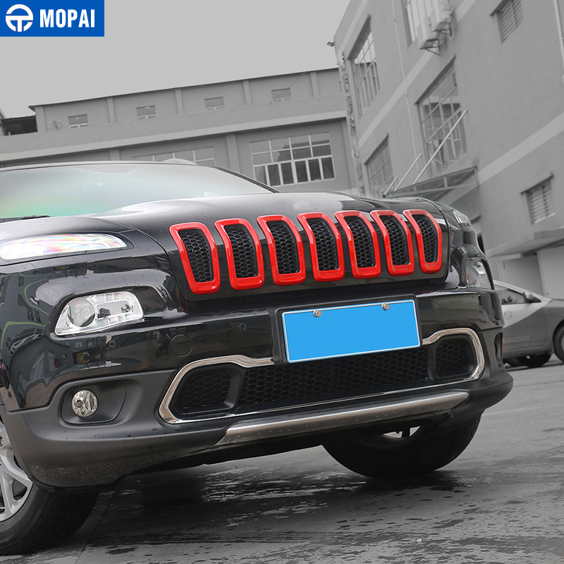 Image 5 - MOPAI Car Exterior Accessories ABS 3D Front Insert Grill Cover Decoration Frame Stickers For Jeep Cherokee 2014 Up Car Styling-in Chromium Styling from Automobiles & Motorcycles