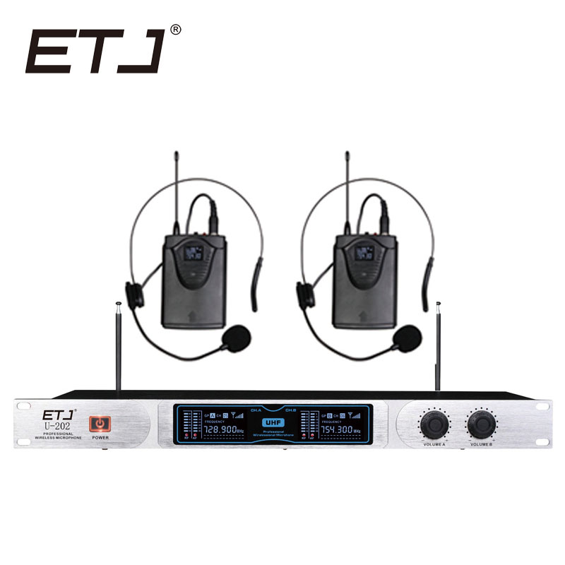 ETJ U-202 Wireless Microphone with Screen 50M Distance 2 Channel Handheld Mic System Karaoke Wireless Microphone free shipping etj u 203 wireless microphone with screen 50m distance 2 channel handheld mic system karaoke wireless microphone