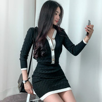 2018 Winter V Neck Full Sleeve Cardigan Sweater Top Knitted Bodycon Mini Skirt Two Piece Casual Black Sets Dress