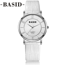 2017 BASID Women Watches In Box Leather Band Simple Black White Quartz Wristwatch Fashion Casual Couple Watch Water Resistant