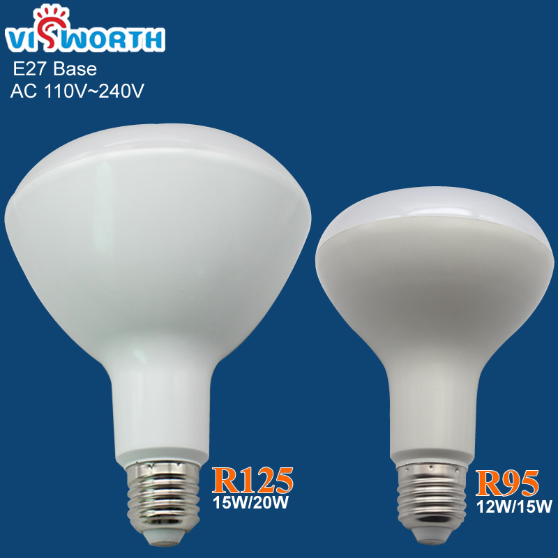 E27 LED bulb 12W 15W 20W R95 R125 LED lamps Warm white Cold white ac 110v 220v 240v led lights wholesale free shipping