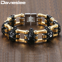 Davieslee Black Skulls Bracelet For Male Jewelry Gold Bicycle Chain 316L Stainless Steel Men's Bracelets Wholesale 18mm DHB373