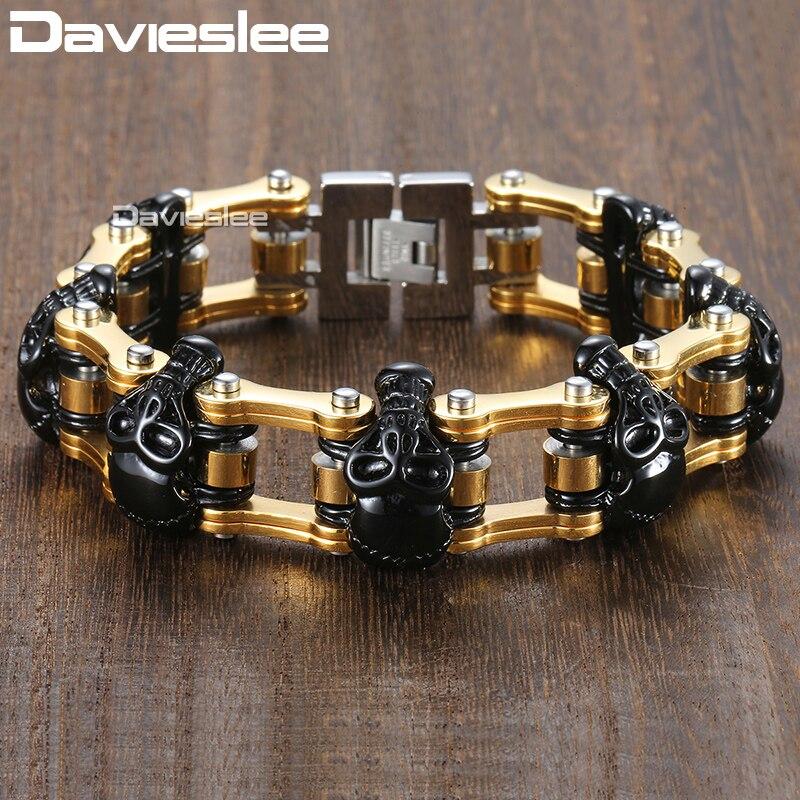 Davieslee Bracelet crânes noirs pour bijoux masculins chaîne de vélo en or 316L en acier inoxydable Bracelets pour hommes en gros 18mm DHB373