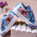 Princesa Meninas Sapatos Para Crianças 2016 Novas Crianças Sapatos de Gelo Anna Elsa Rainha da neve Moda Casual Denim Lona Única Criança Sneakers