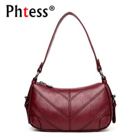 PHTESS New Women Leather Handbags Luxury Brand Bags Sac A Main Small Hobo Bags Women Handbags