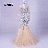 LORIE Long Evening Dresses Luxury Abendkleider V Neck Beaded Bling Bling Prom Dress Rhinestones Long Sleeve