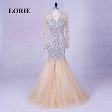 2caff15c53fb57 LORIE Lange Avondjurken Luxe abendkleider V-hals Kralen Bling bling Prom  Jurk Steentjes Lange Mouw Plus Size Party Gown
