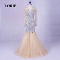 LORIE Long Evening Dresses Luxury abendkleider V Neck Beaded Bling Bling Prom Dress Rhinestones Long Sleeve Plus Size Party Gown