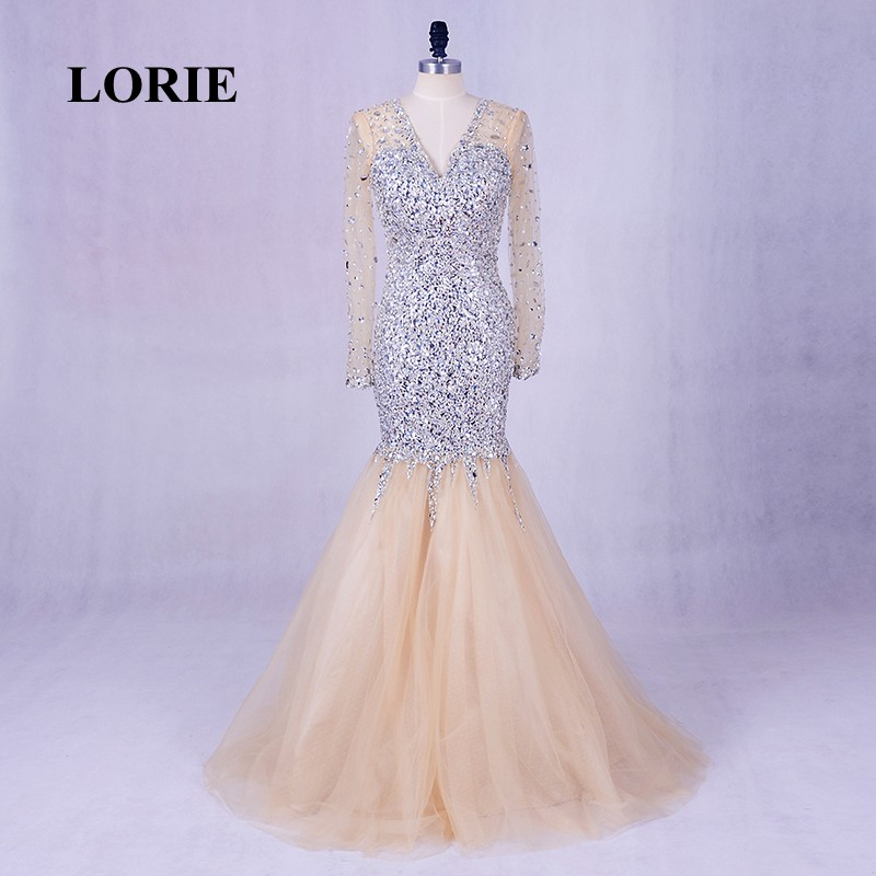 LORIE Long   Evening     Dresses   Luxury abendkleider V-Neck Beaded Bling Bling Prom   Dress   Rhinestones Long Sleeve Plus Size Party Gown