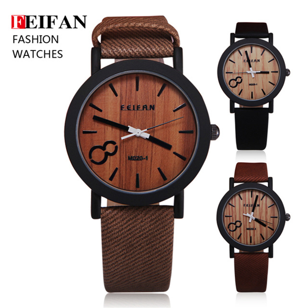 Feifan Unique Vogue Mens Quartz Watches Wooden Outdoor Sport Watches Popular Men Clock With Leather Strap Relojes Hombre 2016 2016fashion top luxury brand unique vogue mens quartz watches wooden outdoor sport watches clock casual wood watch