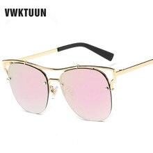 VWKTUUN gafas de Sol Mujeres Moda Medio Capítulo gafas de Sol de La Vendimia Reflejan Espejo Shades gafas gafas de sol gafas de Sol de Marco de Metal